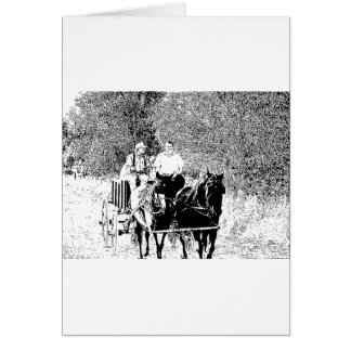 Pen and Ink Horse Drawn Wagon Card