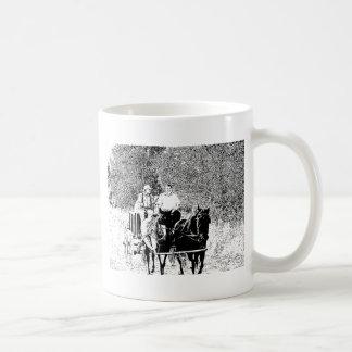 Pen and Ink Horse Drawn Wagon Coffee Mug