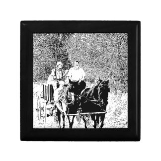 Pen and Ink Horse Drawn Wagon Gift Box