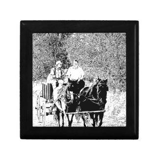 Pen and Ink Horse Drawn Wagon Gift Box