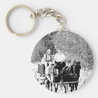 Pen and Ink Horse Drawn Wagon Key Chain