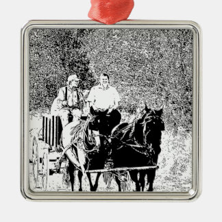 Pen and Ink Horse Drawn Wagon Metal Ornament