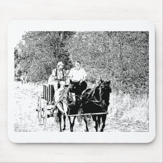 Pen and Ink Horse Drawn Wagon Mouse Pad