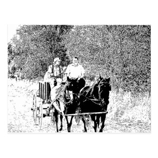 Pen and Ink Horse Drawn Wagon Postcard