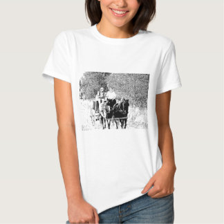 Pen and Ink Horse Drawn Wagon T-shirt