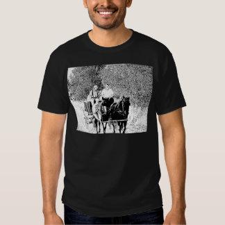 Pen and Ink Horse Drawn Wagon Tee Shirt