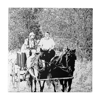 Pen and Ink Horse Drawn Wagon Tile