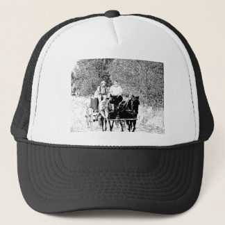 Pen and Ink Horse Drawn Wagon Trucker Hat