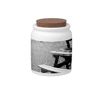 Pen and Ink Picnic Table Candy Jars