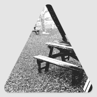 Pen and Ink Picnic Table Triangle Sticker