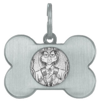 Pen and Ink Scary Guy Pet Tag