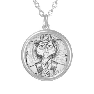 Pen and Ink Scary Guy Silver Plated Necklace