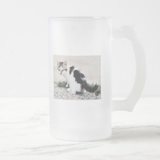 Pen and Ink Sketch of Spotty Black & White Kitten Frosted Beer Mug
