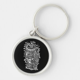 Pen and ink tattoo style owl illustration keychain