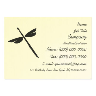 Pen and Wings Abstract Dragonfly Writer Logo Large Business Card