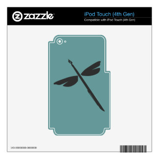 Pen and Wings Abstract Dragonfly Writer Logo Skins For iPod Touch 4G