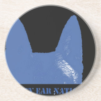 PEN Blue on black Coaster