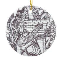 Pen Doodle Pattern Ceramic Ornament