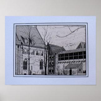 pen drawing refectory Zwolle near Librije Print
