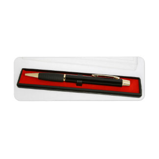 Pen in encasement return address labels