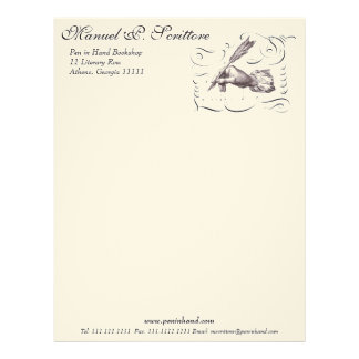 Pen in Hand Letterhead for Writer, Library, Author