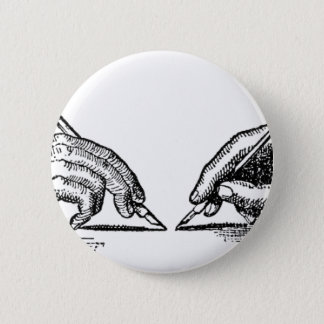 Pen Is Mightier Than the Sword Writer's Hands Pinback Button