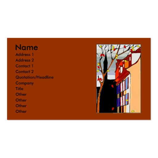 Pen on back Autumn scene on front Business Card Template