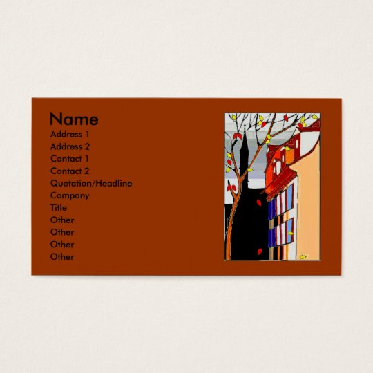 Pen on back Autumn scene on front Business Card