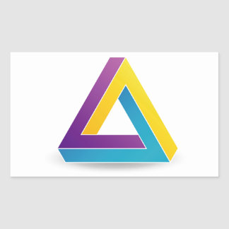 Pen rose triangle rectangular sticker