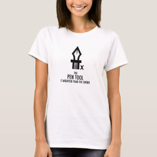 Pen Tool Is Mightier Than The Sword (White) T-Shirt
