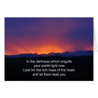 Pena - dificultades - en las tonalidades oscuras tarjeta de felicitación