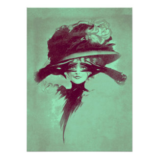 Penacho brillante del gorra de los ojos de la muje póster