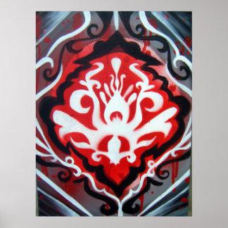 Penacho del negro, rojo y blanco póster
