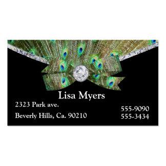 Penacho y diamantes de lujo del pavo real tarjetas de visita
