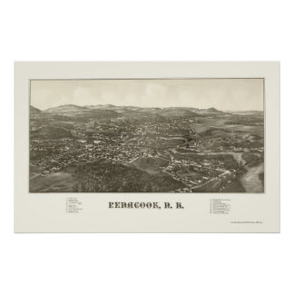 Penacook, NH Panoramic Map - 1887 Poster