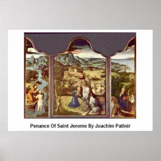 Penance del santo Jerome de Joaquín Patinir Posters