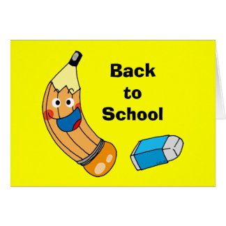 Pencil and eraser, back to school card