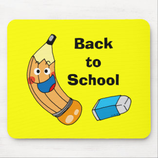 Pencil and eraser, back to school mouse pad