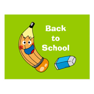Pencil and eraser, back to school postcard