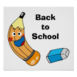 Pencil and eraser, back to school poster