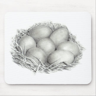 PENCIL ART CHICKEN EGGS MOUSE PAD
