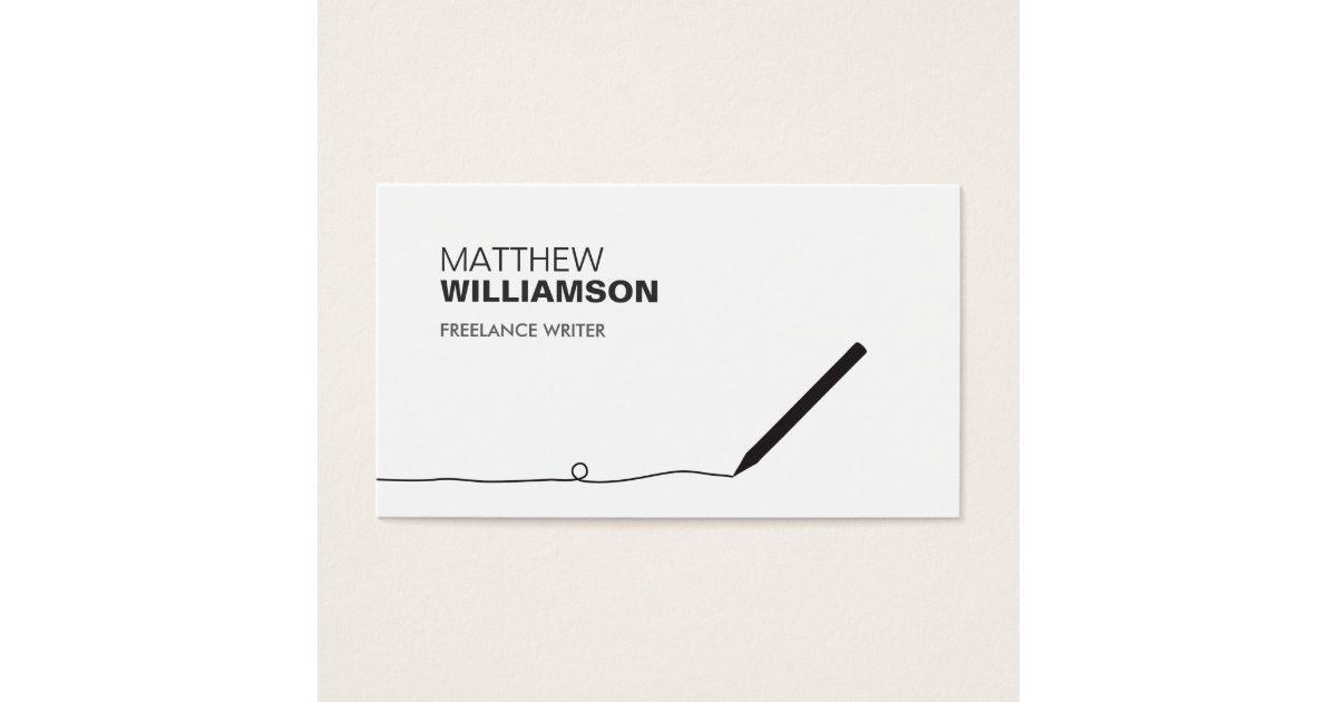 PENCIL BUSINESS CARD FOR AUTHORS & WRITERS | Zazzle.com