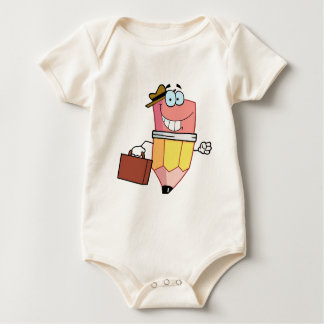 Pencil Cartoon Character Carrying A Briefcase Baby Bodysuit