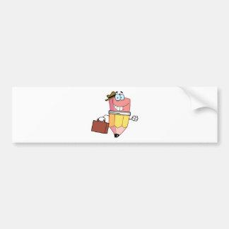 Pencil Cartoon Character Carrying A Briefcase Bumper Sticker