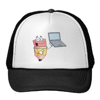 Pencil Cartoon Character Presents Laptop Trucker Hat