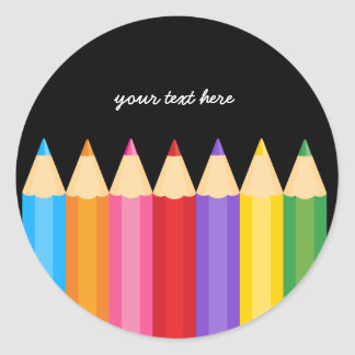 pencil colors * choose your background color classic round sticker