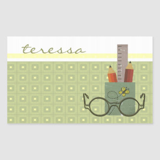 Pencil Cup Rectangle Stickers
