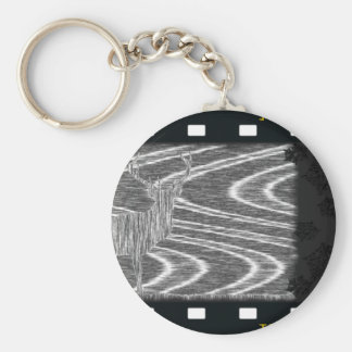 Pencil deer parched brooks film frame basic round button keychain