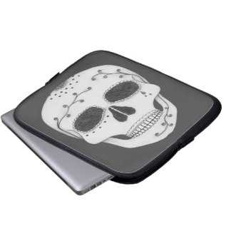 Pencil Drawing Day of the Dead Sugar Skull Laptop Sleeve