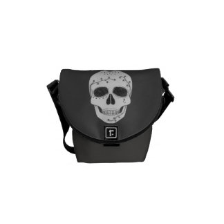 Pencil Drawing Day of the Dead Sugar Skull Messenger Bag